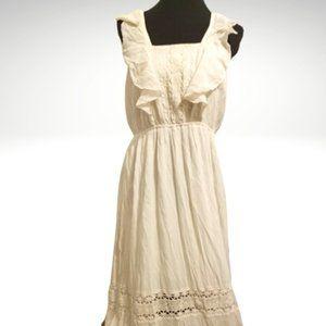 Creamy White Flutter Sleeve Maxi Peasant Dress L